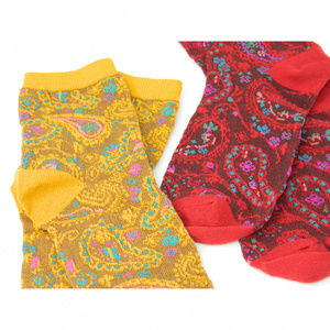 Soft Paisley Socks Set - Red & Mustard Yellow